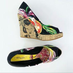 Ed Hardy Black Floral Geisha Peep Toe Wedge Heels